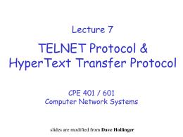 Lecture 7 HTTP & Telnet