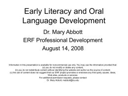 Early Literacy and Oral Language Development