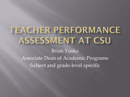Teacher Performance Assessment at CSU