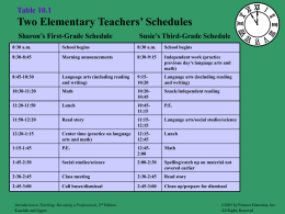 Table 10.1 Two Elementary Teachers' Schedules