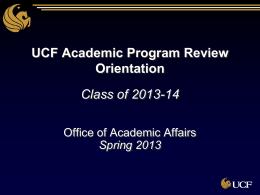 UCF Academic Program Review Orientation