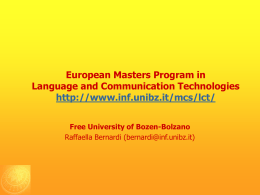 Computer Science in Bozen - Free University of Bozen