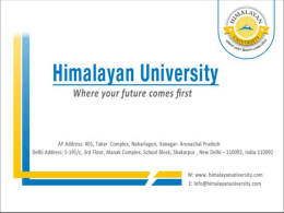 About Us - Himalayan University | Top Universities