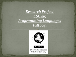Research Project CSC 415 Programming Languages Fall …
