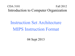 CDA 3101 Spring 2001 Introduction to Computer …