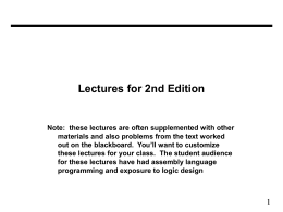 Lectures for 2nd Edition
