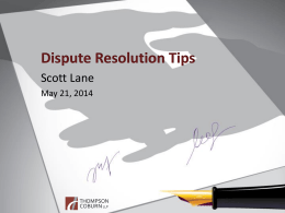 DISPUTE RESOLUTION TIPS