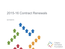 2015-16 Contract Renewals - Calgary Homeless Foundation