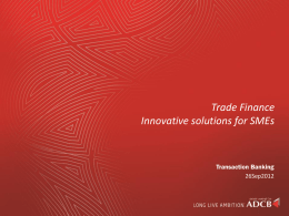 Trade Finance innovative solutions for SMEs