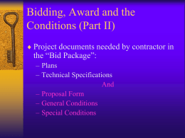 Preparing the Bid Package (Part II)