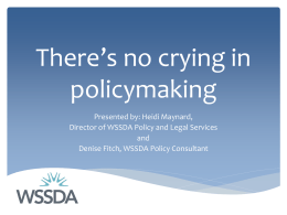 WSSDA Policy and Legal Services