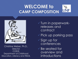 WELCOME Camp Composition - University of North Florida