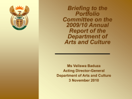 Briefing to Portfolio Committee on DAC 2009_10 Annual …
