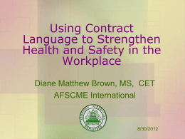 Using Contract Language to Strengthen Health and Safety …