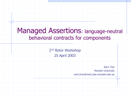 Managed Assertions: language