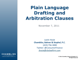 Plain Language Drafting and Arbitration Clauses