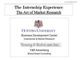 The Internship Experience The Art of Market Research