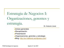 Estrategia Empresarial/ Estrategia I