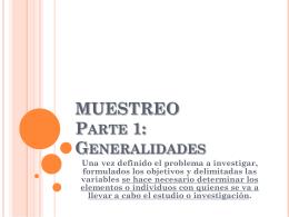 MUESTREO Parte 1: Generalidades