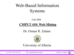 Web -based Information Systems CMPUT410