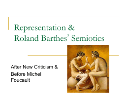 Semiotics: Roland Barthes