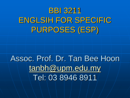 BBI 3215 Introduction to Psycholinguistics Dr Tan Bee …