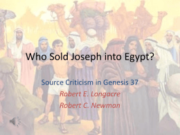 Who Sold Joseph? - Interdisciplinary Biblical Research