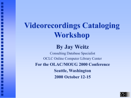Cataloging Music Videos Workshop