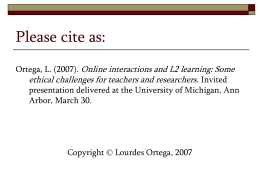 Online interactions & L2 learning: Some ethical challenges
