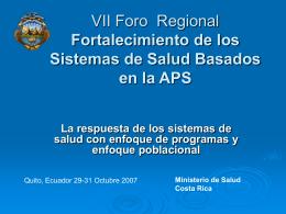 Calidad en el Sector Salud en Costa Rica