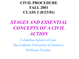 CIVIL PROCEDURE CLASS 3 (8/28/00) STAGES AND …