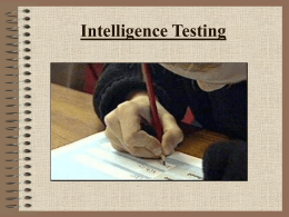 Intelligence Testing - UNCW Faculty and Staff Web Pages