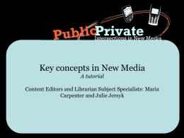 Key concepts in New Media