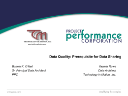 Enterprise Data Management and Data Quality on a …