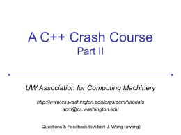 The C++ Crash Course : Part I