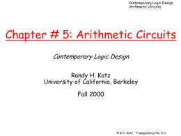Chapter # 5: Arithmetic Circuits Contemporary Logic …