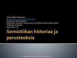 Semiotiikan historiaa ja perusteoksia