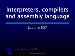 Interpreters, compilers and assembly language