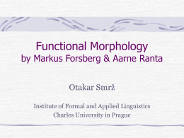 Functional Morphology by Markus Forsberg & Aarne …