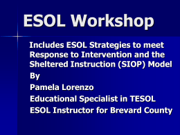 ESOL Workshop - School District of Osceola County, …