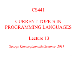 CS441 Lecture 4 - IIT Computer Science Department