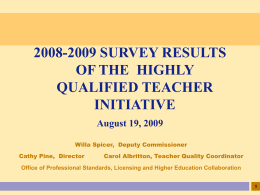 2008-2009 Survey Results of the Highly Qualified Teacher
