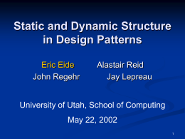 Static and Dynamic Structure in Design Patterns