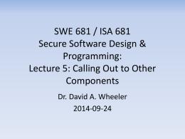 SWE 781 / ISA 681 Secure Software Design & Programming