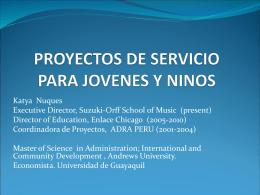 PROYECTOS DE SERVICIO PARA JOVENES Y NINOS