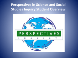 Perspectives in Science and Social Studies Inquiry Student