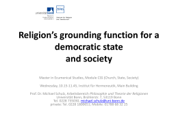 Religion's grounding function for a democratic state and
