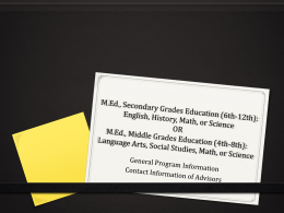 KSU M.Ed: Secondary Grades & Middle Grades Education …