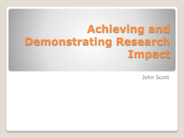 Achieving and Demonstrating Research Impact
