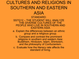 CULTURES AND RELIGIONS IN SOUTHERN AND …